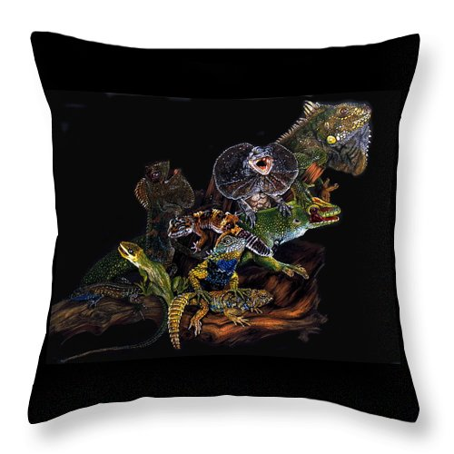 Lizards Throw Pillow featuring the drawing Gems And Jewels by Barbara Keith