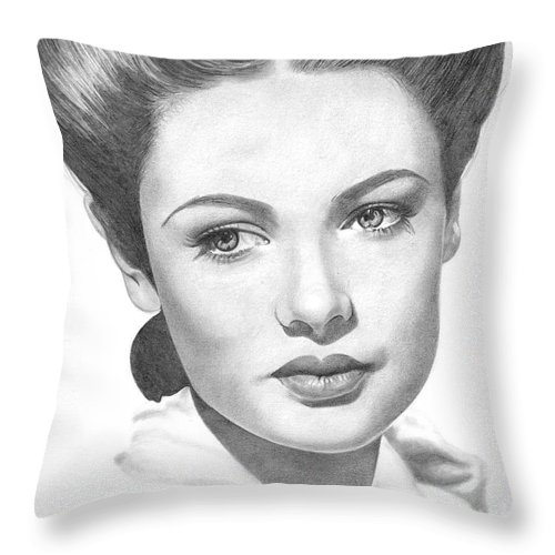 Gene Tierney Throw Pillow featuring the drawing Gene Tierney by Karen Townsend