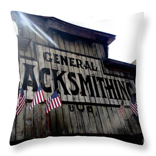 Building Throw Pillow featuring the photograph General Blacksmithing by Linda Shafer