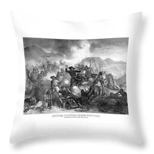 General Custer Throw Pillow featuring the drawing General Custer's Death Struggle by War Is Hell Store