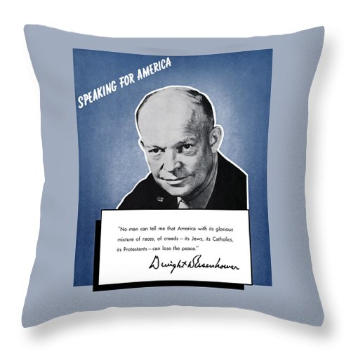 Eisenhower Throw Pillow featuring the painting General Eisenhower Speaking For America by War Is Hell Store