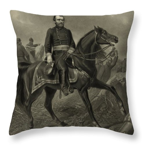 Civil War Throw Pillow featuring the painting General Grant On Horseback by War Is Hell Store