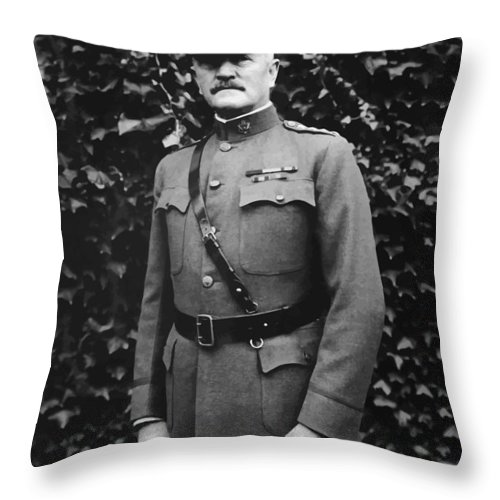 Ww1 Throw Pillow featuring the painting General John J. Pershing by War Is Hell Store
