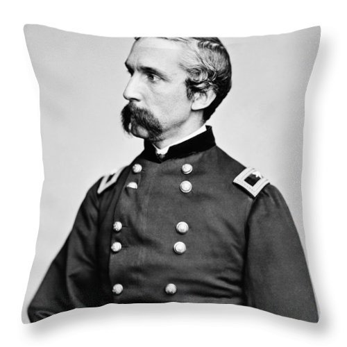 Joshua Lawrence Chamberlain Throw Pillow featuring the photograph General Joshua Chamberlain by War Is Hell Store