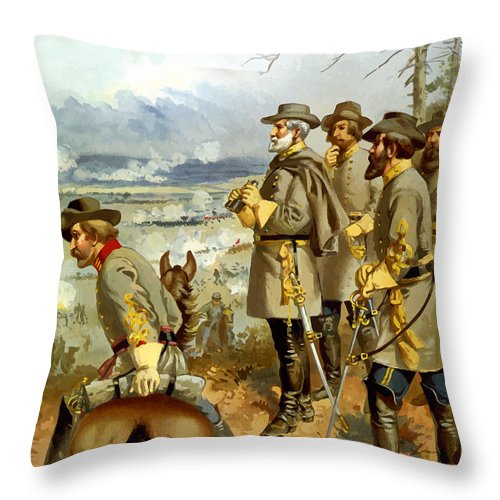 Civil War Throw Pillow featuring the painting General Lee At The Battle Of Fredericksburg by War Is Hell Store