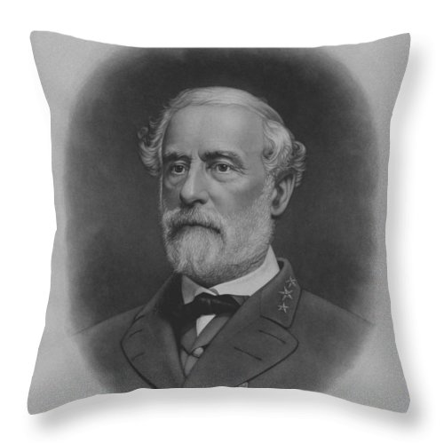 General Lee Throw Pillow featuring the painting General Robert E. Lee Print by War Is Hell Store