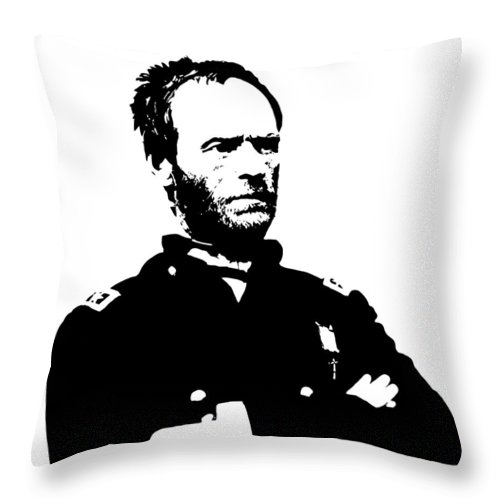 General Sherman Throw Pillow featuring the digital art General Sherman by War Is Hell Store