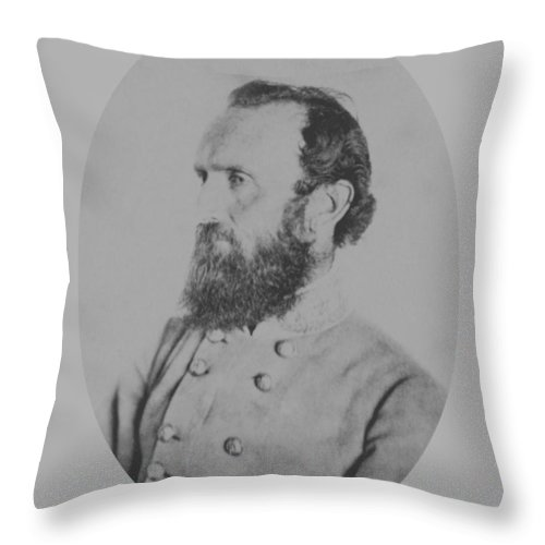 Stonewall Jackson Throw Pillow featuring the photograph General Thomas Stonewall Jackson - Two by War Is Hell Store