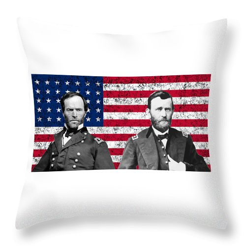 Civil War Throw Pillow featuring the painting Generals Sherman And Grant by War Is Hell Store