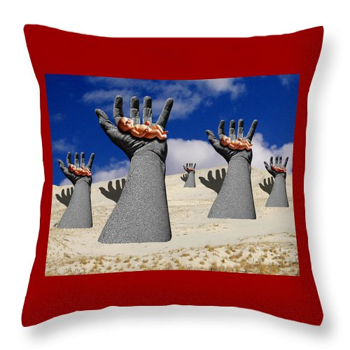 Babies Throw Pillow featuring the digital art Generation Of Hope by Keith Dillon