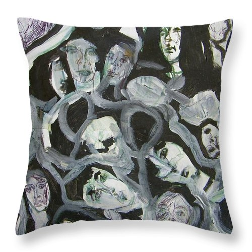 Abstract Throw Pillow featuring the painting Generations by Judith Redman