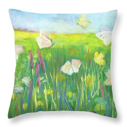 Butterflies Throw Pillow featuring the pastel Gentle Field by Lori Harris