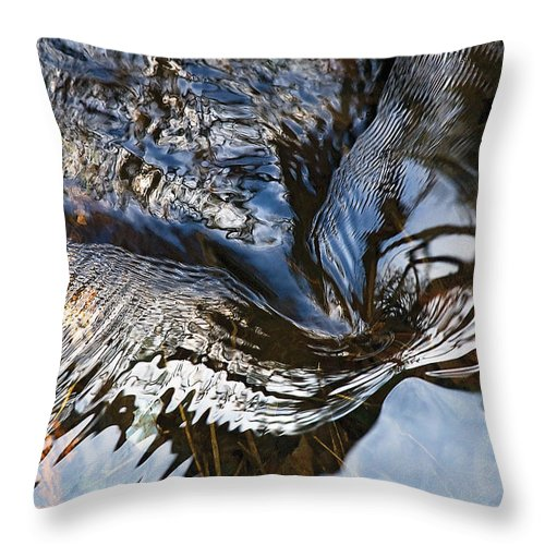 River Throw Pillow featuring the photograph Gentle Rapids Ripple Swirl In River-5 by Steve Somerville
