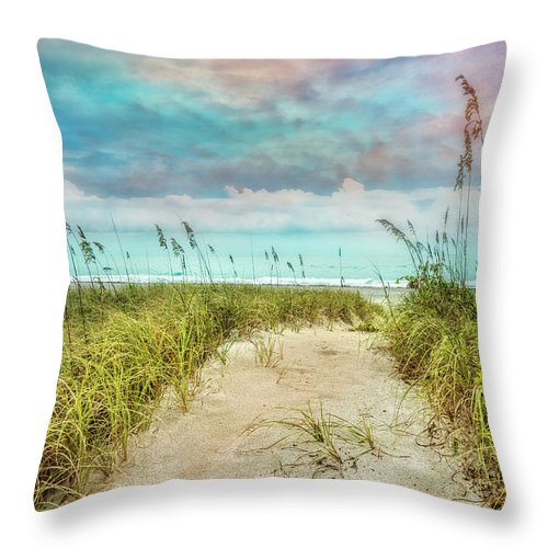 Atlantic Throw Pillow featuring the photograph Gentle Walk by Debra and Dave Vanderlaan
