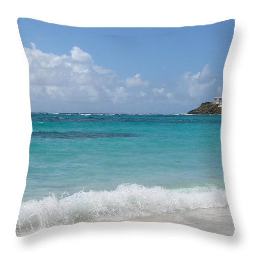 Dawn Beach St. Maarten Throw Pillow featuring the photograph Gentle Wave On Dawn Beach by Margaret Bobb