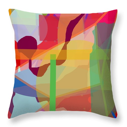 Abstract Throw Pillow featuring the painting Geo Frenzy by Pharris Art