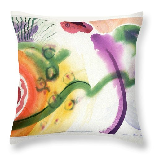 Abstract Throw Pillow featuring the painting Geomantic Blossom Ripening by Eileen Hale