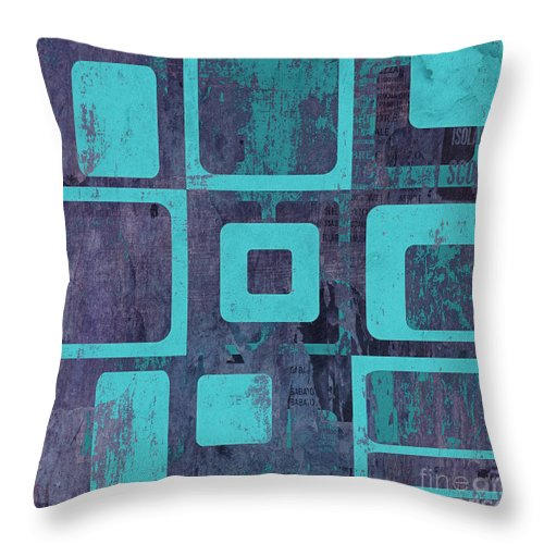 Abstract Throw Pillow featuring the digital art Geomix 02 - sp06c6b by Variance Collections