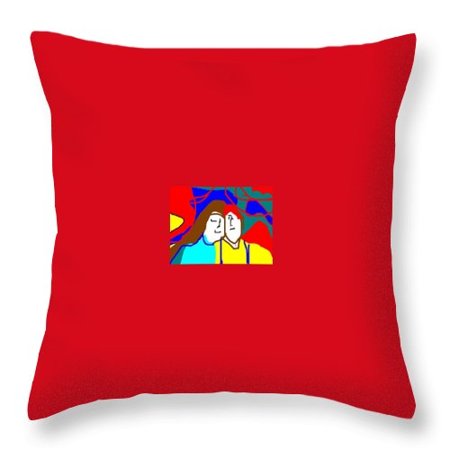 Abstract Throw Pillow featuring the painting George And Emily by Judith Redman
