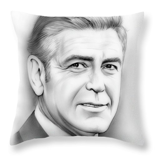 George Clooney Throw Pillow featuring the drawing George Clooney by Greg Joens