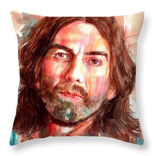 George Throw Pillow featuring the painting George Harrison portrait by Suzann Sines