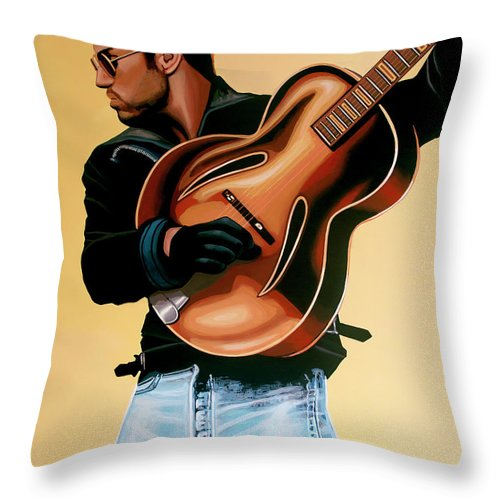 George Michael Throw Pillow featuring the painting George Michael Painting by Paul Meijering