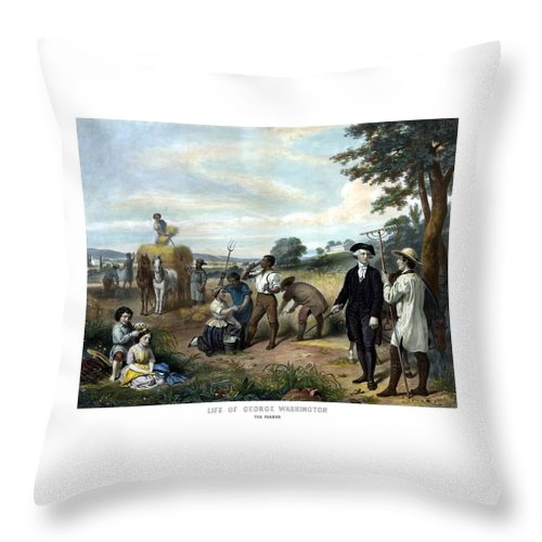 George Washington Throw Pillow featuring the painting George Washington The Farmer by War Is Hell Store