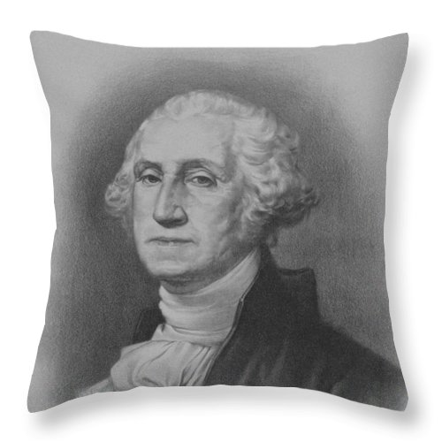 George Washington Throw Pillow featuring the mixed media George Washington by War Is Hell Store