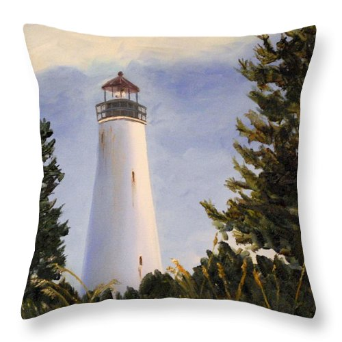 Georgetown Lighthouse Throw Pillow featuring the painting Georgetown Lighthouse Sc by Phil Burton