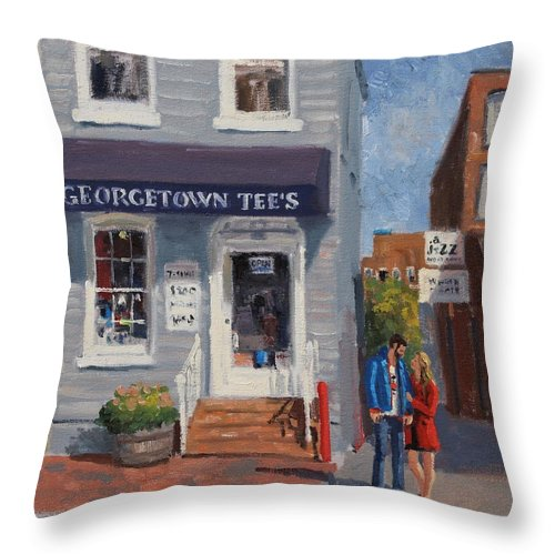 Old Building Throw Pillow featuring the painting Georgetown Tee's by Roelof Rossouw