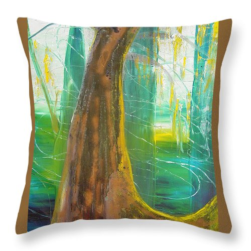 Landscape Throw Pillow featuring the painting Georgia Morning by Peggy Blood