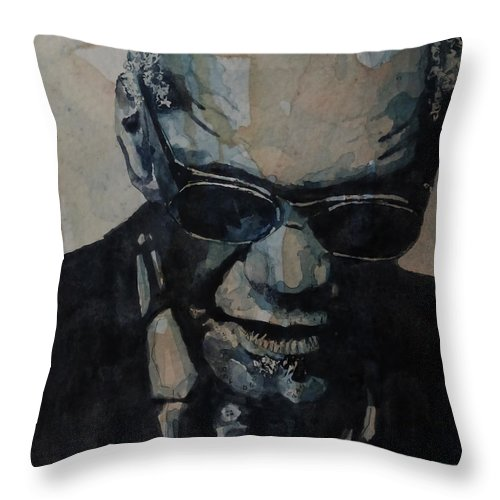 Ray Charles Throw Pillow featuring the painting Georgia On My Mind - Ray Charles by Paul Lovering