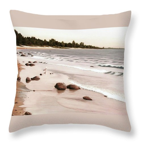 Landscapes Throw Pillow featuring the painting Georgian Bay Beach by Kenneth M Kirsch