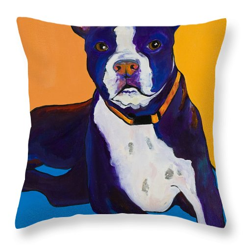 Boston Terrier Throw Pillow featuring the painting Georgie by Pat Saunders-White
