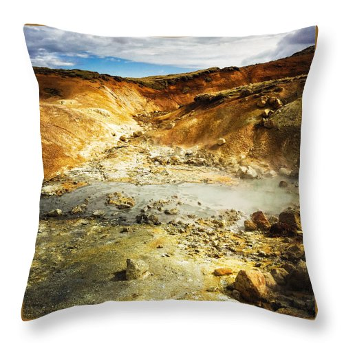Iceland Throw Pillow featuring the photograph Geothermal area in Reykjanes Iceland by Matthias Hauser
