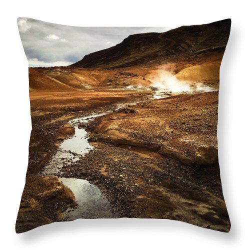 Iceland Throw Pillow featuring the photograph Geothermal area Krysuvik in Iceland by Matthias Hauser