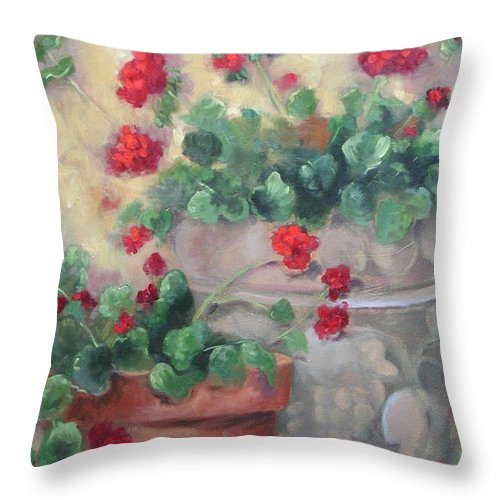 Geraniums Throw Pillow featuring the painting Geraniums by Ginger Concepcion
