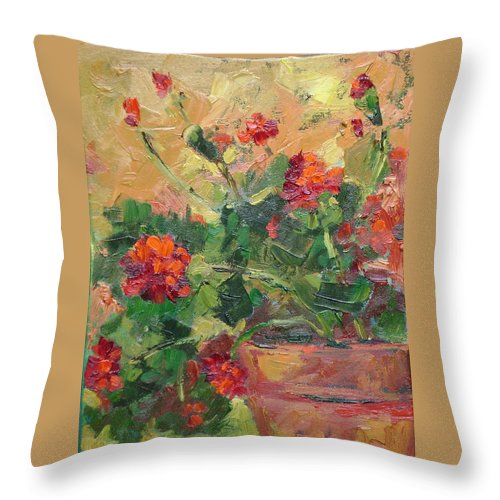 Geraniums Throw Pillow featuring the painting Geraniums II by Ginger Concepcion