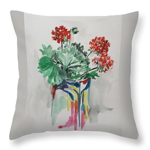 Leaves Throw Pillow featuring the painting Geraniums by Rita Fetisov
