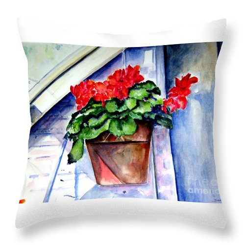 Geranium Throw Pillow featuring the painting Geraniums by Sandy Ryan
