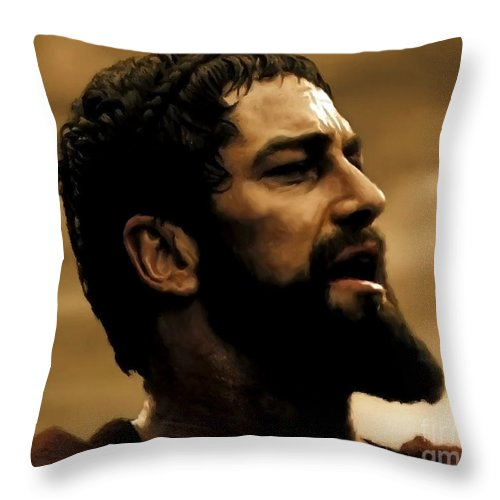 Gerard Butler Throw Pillow featuring the digital art Gerard Butler In 300 by Carl Gouveia