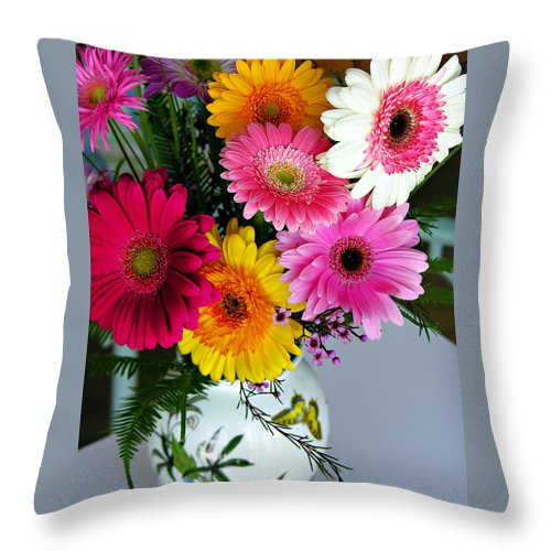 Flower Throw Pillow featuring the photograph Gerbera Daisy Bouquet by Marilyn Hunt