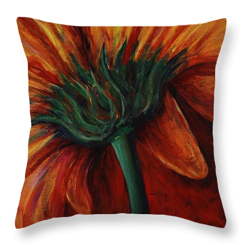 Gerbera Daisy.daisy Throw Pillow featuring the painting Gerbera Daisy by Nadine Rippelmeyer