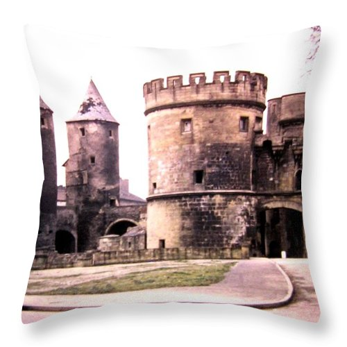 1955 Throw Pillow featuring the photograph German Gate In Metz 1955 by Will Borden