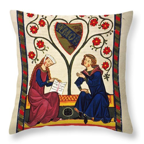 14th Century Throw Pillow featuring the photograph German Minnesinger 14th C - To License For Professional Use Visit Granger.com by Granger