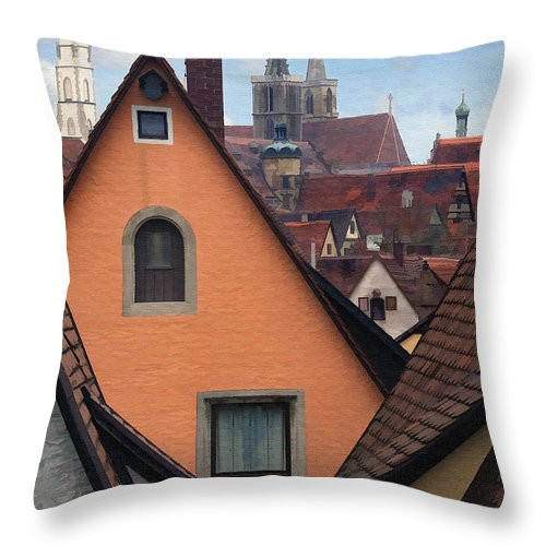 Architecture Throw Pillow featuring the photograph German Rooftops by Sharon Foster