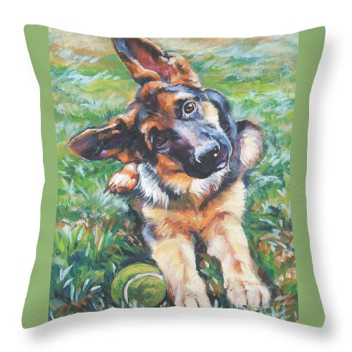 Dog Throw Pillow featuring the painting German shepherd pup with ball by Lee Ann Shepard