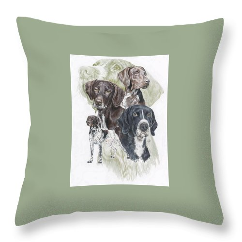 Gshp Throw Pillow featuring the mixed media German Shorted-haired Pointer Revamp by Barbara Keith