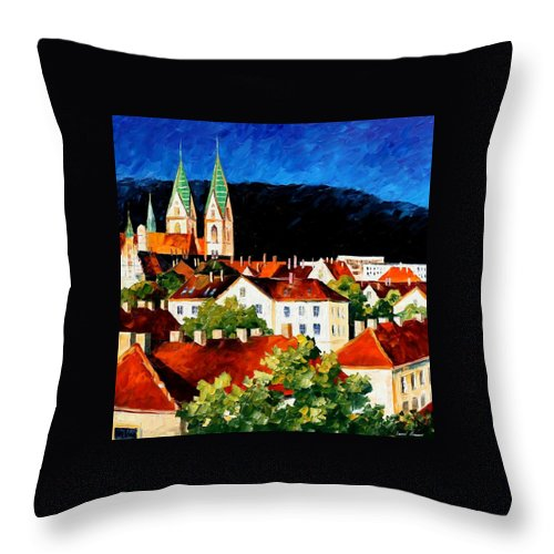 City Throw Pillow featuring the painting Germany - Freiburg by Leonid Afremov