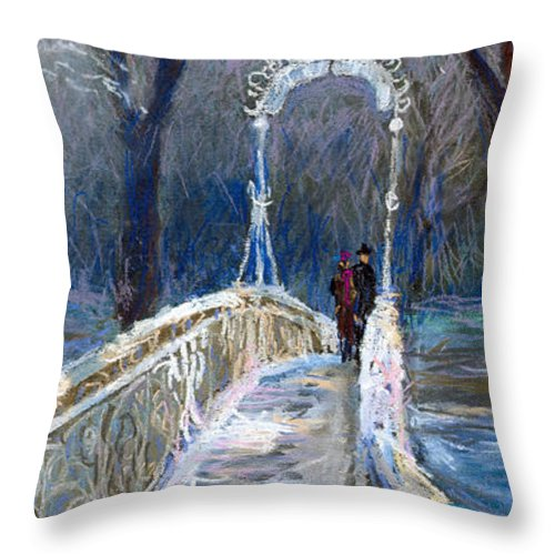 Pastel Throw Pillow featuring the painting Germany Baden-baden 02 by Yuriy Shevchuk